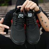 Mesh Shoes for Men Work out Lace Up Black Red Comfortable Light weight Casual sPU Sole New Style Brand Sapatos casuais