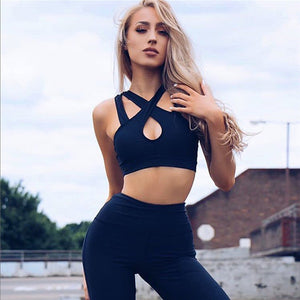 Pfflook New Pink Yoga Suit Hollow Women Yoga Gym Elastic Running Sport Suit Fitness Clothing Workout Sport Wear Sports Bra+Pant