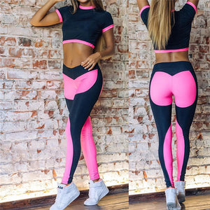 Hot Sale Rosy Women Yoga Sets Gym Sports Crop tops + Elastic Patchwork Pant Fitness Running Suit Clothing Workout Sport Wear