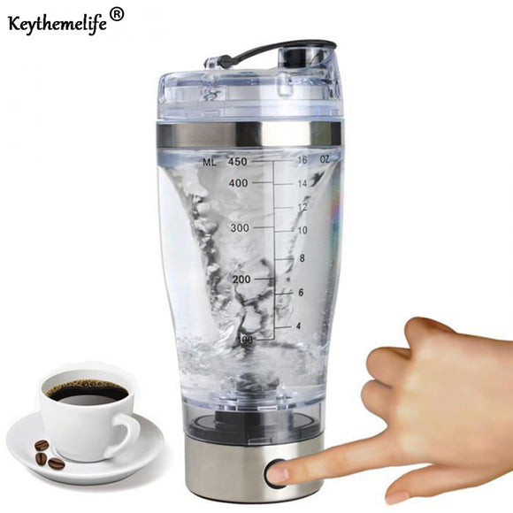 Keythemelife Protein Powder Shakes Bottle Auto Coffee Mixing bottles Mixer Leakproof Shaker water Bottles Stainless Steel D7