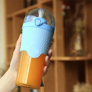Hoomall New Protein Powder Shaker Fitness Mixer Sports Water Bottle Food Grade PP Bouncing Straw 500ml Milk Coffee Drinkware