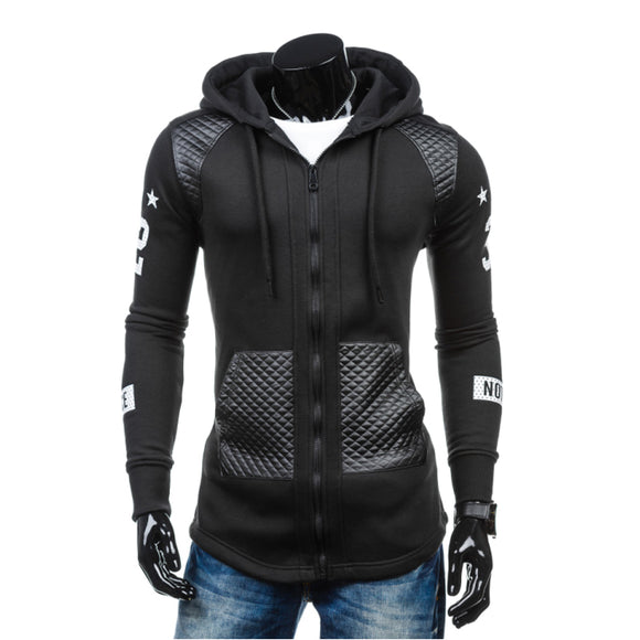 2017 Hoodies Men Sudaderas Hombre Hip Hop Mens Brand Letter Hooded Zipper Hoodie Sweatshirt Slim Stitching Men Hoody Size 3XL