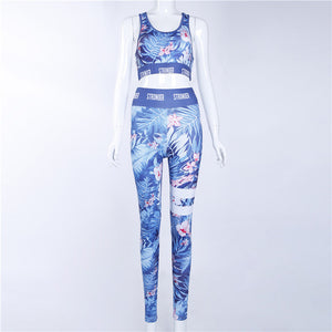 2 Piece Bra+pants Floral Printed Brand Women Yoga Set High Waist Gym Fitness Leggings Push Womens Printing Sport