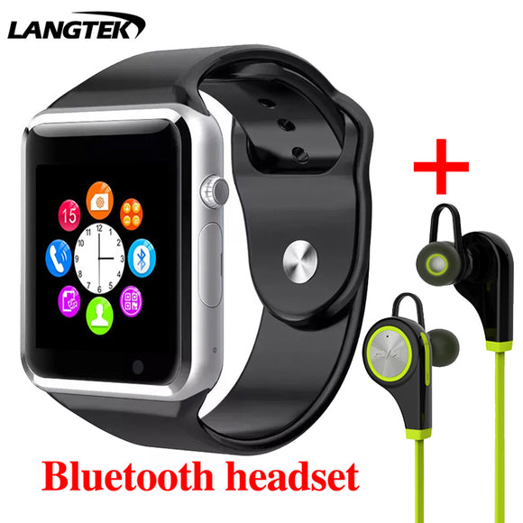 LANGTEK Men Women WristWatch Smart Watch  Support Multi languages  With Camera Bluetooth Smart Watch Pedometer SIM Card