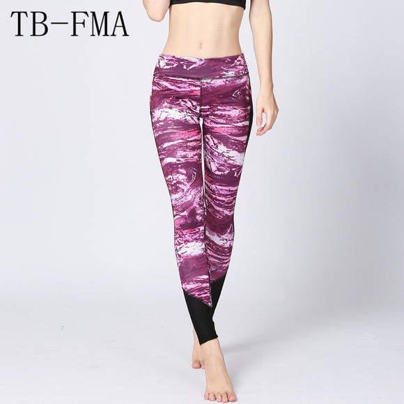 Women Sportswear Yoga Leggings Lady Tights Bright Pink Printed Sport Yoga Pants Elastic Compression Fitness Gym Running Leggings