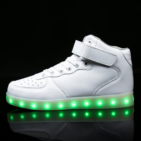 kids Led usb charging glowing Sneakers Children hook loop Fashion luminous shoes for girls boys men women skate shoes #25-46