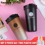 Keelorn 500ML Coffee Thermos Cup Thermocup Stainless Steel vacuum flasks Thermoses Sealed Thermo mug for Car My Water Bottle