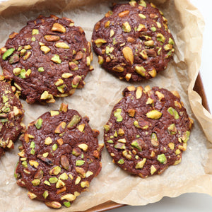 Chocolate pistachio fudge cookies