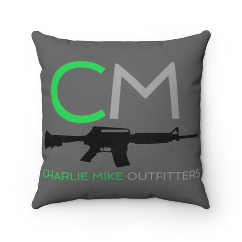 CM Flag and Logo Spun Polyester Square Pillow - Charlie Mike Outfitters
