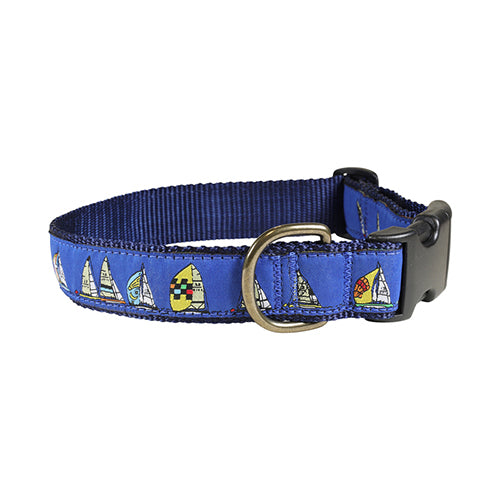 "Rounding the Mark (blue) 1.25"" Dog Collar"