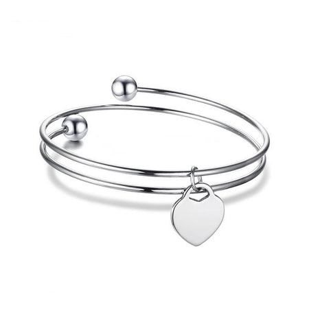 Fervor Heart Bracelet - Stainless Steel ID Bangle Layered Love Bracelet for Women - Ritzy Jewelry