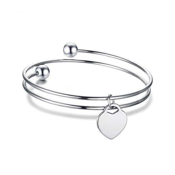 Fervor Stainless Steel Heart ID Bangle Layered Love Bracelet for Women by Ritzy - Ritzy Jewelry