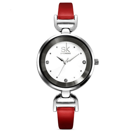 Astonishing SK Quartz Watches - Fashion Brand Leather Strap Diamond Class Watches for Girls - Ritzy Jewelry