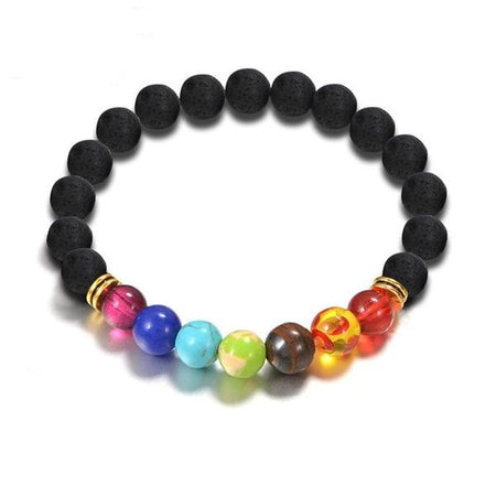 Dazzle Chakra Black Natural Lave Stone Beads Yoga Bracelets for Women by Ritzy - Ritzy Jewelry