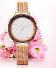 Fascinating Luxury Mesh Belt Dress Shell Quartz Watch Bracelet for Women - Ritzy Jewelry
