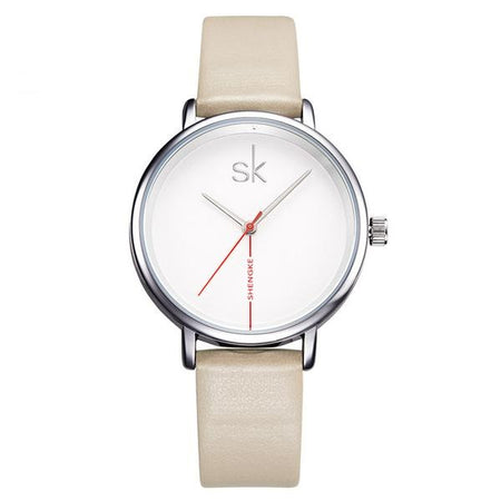 Embellished Creative Sk Leather Watch - Fashion Quartz Watch for Women - Ritzy Jewelry