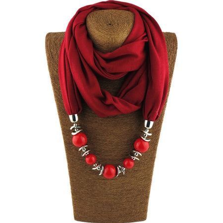 Neoteric Wrap Bandana Ethnic Foulard Beads Pendent Scarf Necklace for Women - Ritzy Jewelry