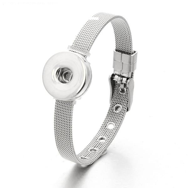 Chatoyant Stainless Steel Snap Button Bangle Bracelet for Women by Ritzy - Ritzy Jewelry