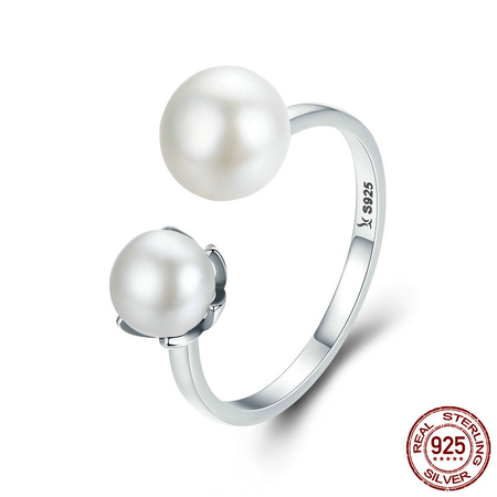 Amazing Freshwater Pearl Ring - Sterling Silver Cultured Elegance Finger Rings Luxury Gift Pearl - Ritzy Jewelry