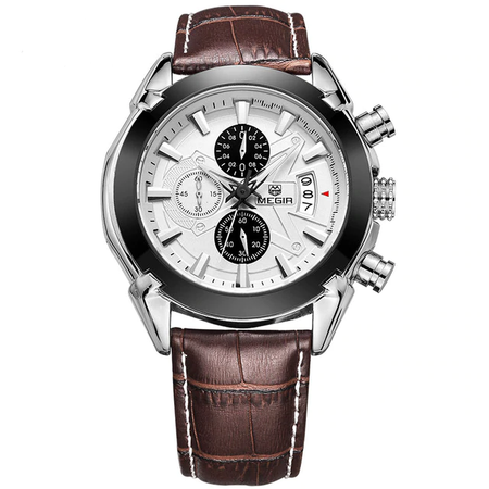 Aristocratic Megir Fashion Leather Quartz - Genuine Leather Sports Chronograph Wristwatches for Mens - Ritzy Jewelry