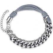 Boss Chain Link Bracelet - Leather Curb Cuban Stainless Steel Handmade Bracelets for Mens - Ritzy Jewelry