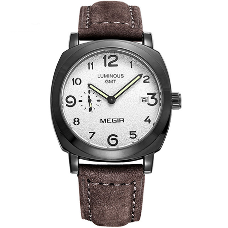 Exclusive Megir Quartz Watch - Genuine Leather Quartz Waterproof Analog Wristwatch - Ritzy Jewelry