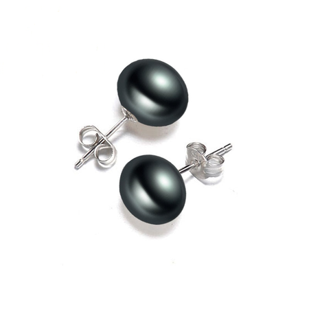Exquisite Black Freshwater Pearl - Real Pearls Stud Earrings 925 Sterling Silver Earrings For Women - Ritzy Jewelry