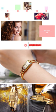 Fearlessness Luxury Quartz Watch - Fashion Design Gold Rectangle Simple Fashion Wrist Watch - Ritzy Jewelry