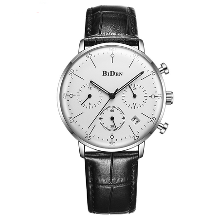 Spectacular BiDen Quartz Watch - Ultra Thin Genuine Leather Band Stylish Design Chronograph Watch For Mens - Ritzy Jewelry