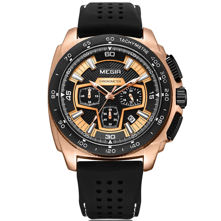 Urbane Megir Sport Quartz Watches - Chronograph Fashion Movement Rubber Band Luminous Wristwatch - Ritzy Jewelry