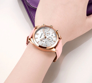 Womanly Megir Leather Quartz Watches - Chronograph Clock 24 Hours Waterproof Wristwatch for Women - Ritzy Jewelry