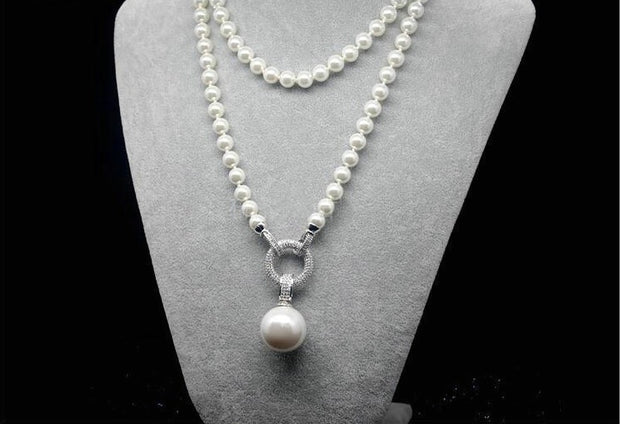 Pompous Exquisite Simulated long Pearl Sweater Necklace for Women by Ritzy - Ritzy Jewelry