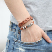 Detailed Simple Leather Bracelet - Fashion Toggle-Clasp Wrap Bracelet for Mens - Ritzy Jewelry