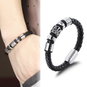 Masonic Stainless Steel Handmade Leather Magnetic Clasp Bracelet for Men's by Ritzy - Ritzy Jewelry