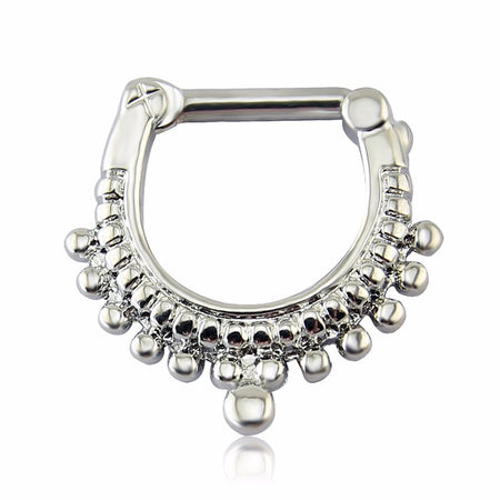 Luster Silver Septum Stainless Steel Nose Hoop Ring for Women by Ritzy - Ritzy Jewelry