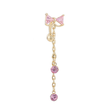 Faddy Zirconia Bowknot Belly Button Dangle Ring for Women by Ritzy - Ritzy Jewelry