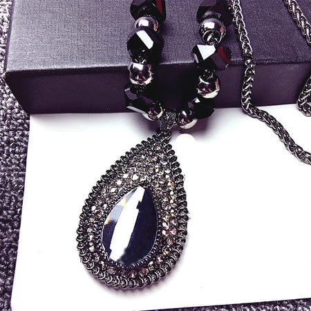 Tantalizing Shinning Water Drop Rhinestone Long Sweater Necklace Pendant for Women by Ritzy - Ritzy Jewelry