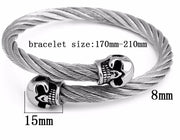 Merciless Cable Classic Bangle - Stainless Steel Twist Silver Steel Wire Skull Bangle Bracelet for Mens - Ritzy Jewelry