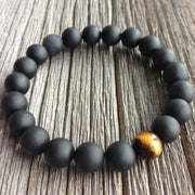 Belle Noel Bead Bracelet - Handmade High Quality Beads With One Tiger Eye Bead for Mens - Ritzy Jewelry