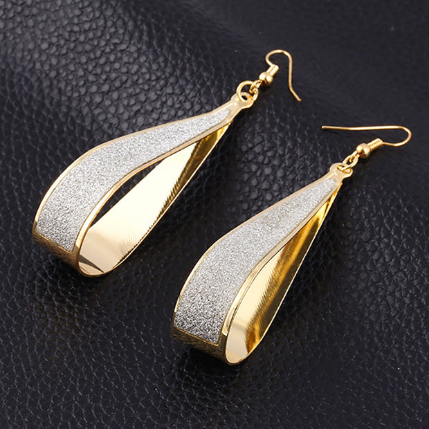 Curvy Silver Scrub Water Drop Punk Dangle Earrings for Women by Ritzy - Ritzy Jewelry