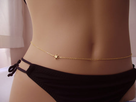 Amber Gold Body Chain - Star Waist Belly Chain for Women - Ritzy Jewelry