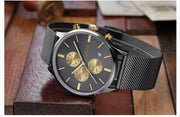 Exquisite Baogela Quartz Watch - Fashion Stainless Steel Mesh Multi-function Wristwatch for Mens - Ritzy Jewelry