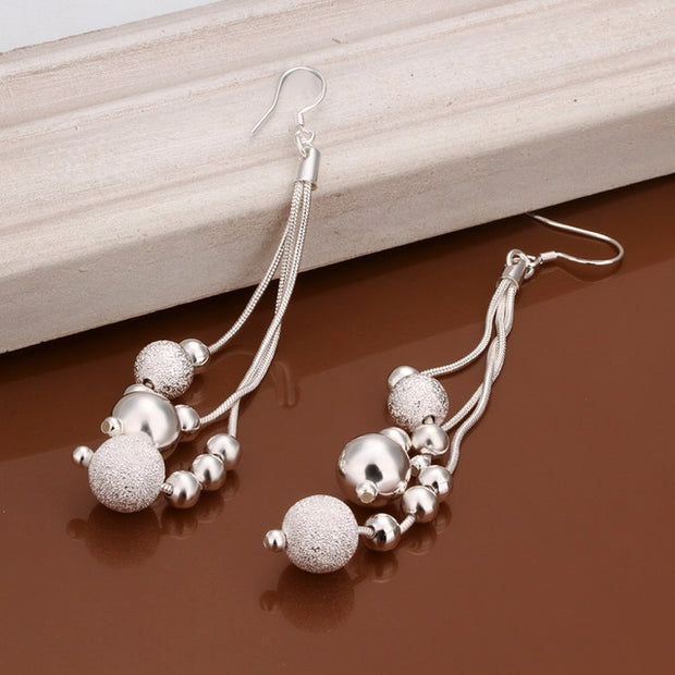 Colossal Silver Plated Earrings - Line Beads Crux Earrings for Women - Ritzy Jewelry