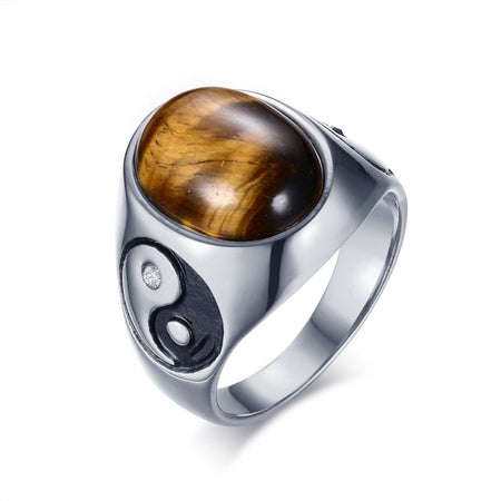 Curious Oval Tiger Eye Ring - Vintage Brown Stones Yin Yang Stainless Steel Ring for Mens - Ritzy Jewelry