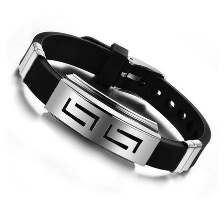 Explosion Durable Black Punk Wristband Silicone Stainless Steel Men's Bracelet by Ritzy - Ritzy Jewelry