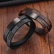 Handmade Cross Wide Cuff Stainless Steel Magnetic Genuine Leather Bracelets & Bangles for Men's By Ritzy - Ritzy Jewelry