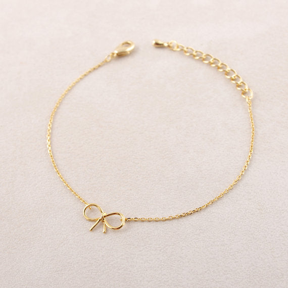 Gothic Stainless Steel Bow Knot Charm Brass Bracelet for Women by Ritzy - Ritzy Jewelry