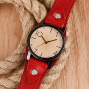 Stylized Quartz Watch - Red Leather Vintage Casual Crystal Wristwatch for Women - Ritzy Jewelry