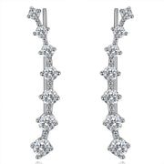 Umode Four Prong CZ Crystal Dipper Hook Stud Earrings for Women by Ritzy - Ritzy Jewelry