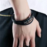 Cool Stainless Steel Leather Bracelet - Multilayer Black Braid Rope Magnetic Clasp Chain for Mens - Ritzy Jewelry